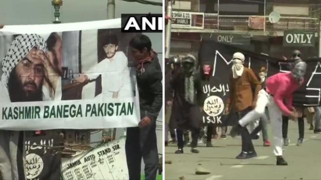 जम्मू-काश्मीरः नमाजनंतर दगडफेक, युवकांच्या हातात मुसा-मसूदचे पोस्टर