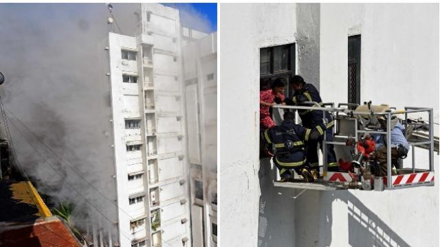 वांद्रे येथील एमटीएनएलच्या इमारतीला भीषण आग लागली आहे (छाया सौजन्य : सत्यव्रत त्रिपाठी)