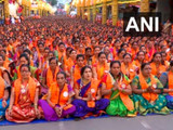 पुण्यात महिलांकडून सामूहिक अथर्वशीर्ष पठण (फोटो सौजन्य - एएनआय)