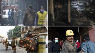 दिल्लीतील धान्य बाजारात रविवारी पहाटे भीषण आग लागून ४३ जणांचा मृत्यू झाला. (Sanchit Khanna)