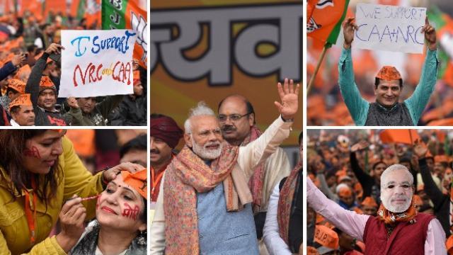 दिल्लीतील रामलीला मैदानावर पंतप्रधान मोदींचे जल्लोषात स्वागत करण्यात आले. (Burhaan Kinu/ HT)