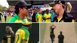 सचिनने ऑस्ट्रेलिय महिला गोलंदाजीचा सामना केल्याचे पाहायला मिळाले.