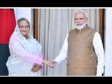 बांगलादेशच्या पंतप्रधान शेख हसीना आणि पंतप्रधान नरेंद्र मोदी