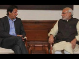 पाकिस्तानचे पंतप्रधान इमरान खान पंतप्रधान नरेंद्र मोदींबरोबर