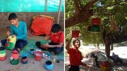 विद्यार्थी पक्षांना घरटी बनविणे व पक्षांना चारा, पिण्याच्या पाण्याची सोय करणे अशा गोष्टी करत आहेत.